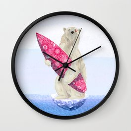Polar bear & Surf (pink) Wall Clock