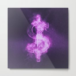 Dollar sign, Dollar Symbol. Monetary currency symbol. Abstract night sky background. Metal Print