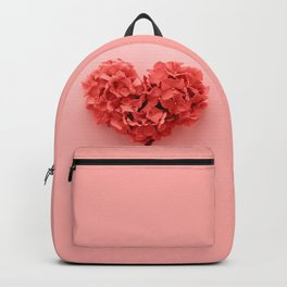 Valentines Day Heart Made of Red Roses Isolated on Pastel Background. Backpack