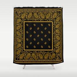 Classic Black and Gold Bandana Shower Curtain