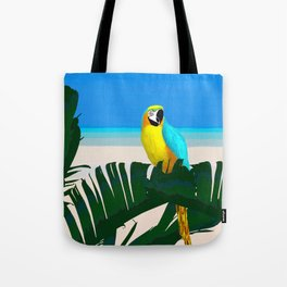 Parrot Tropical Banana Leaves Design Tote Bag