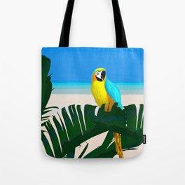 Parrot Tropical Banana Leaves Design Tote Bag