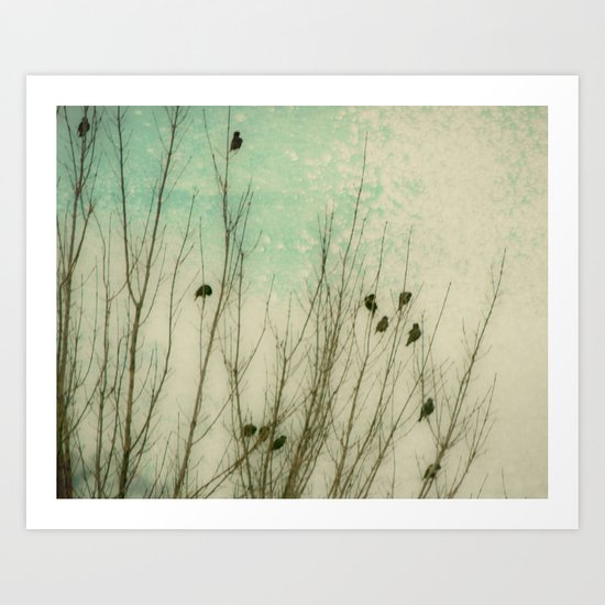 Textured Birds Braving the Winter Cold Art Print