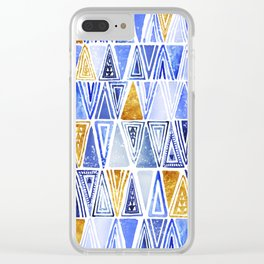 Indigo Blue Gold Tribal Ethnic Triangles Pattern Clear iPhone Case