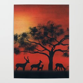 African Silhouette Poster
