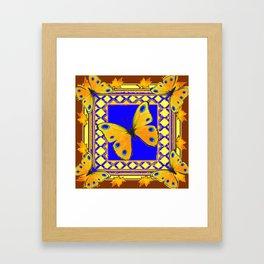 Golden Yellow Yellow Spotted Butterflies Brown-Blue Art Framed Art Print