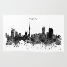 Auckland Black and White Watercolor Skyline Rug