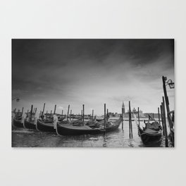 Venice, black-and-white, gondola, dark Canvas Print