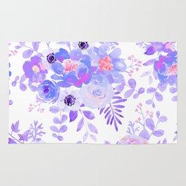 Lilac lavender violet pink watercolor elegant floral Rug