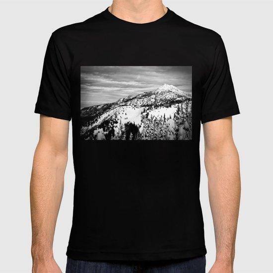 Snowy Mountain Peak Black and White T-shirt
