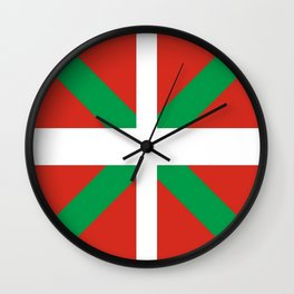 Flag of Euskal Herria-Basque,Pays basque,Vasconia,pais vasco,Bayonne,Dax,Navarre,Bilbao,Pelote,spain Wall Clock