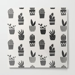 Desert Potted Cactus + Succulents Metal Print