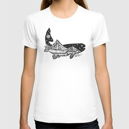 """""""Trout Dreams"""" Hand Drawn Double Exposure Fishing Camping Art T-shirt"""