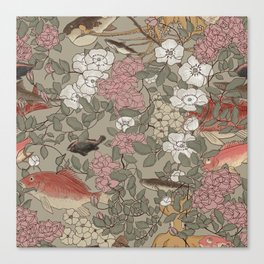 Fishes & Flowers - Seamless pattern Canvas Print