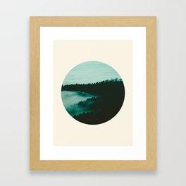 Forest Mountains & Fog Circle Photo Framed Art Print