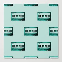cassette Canvas Prints featuring cassette by Ginger Pigg Art & Design