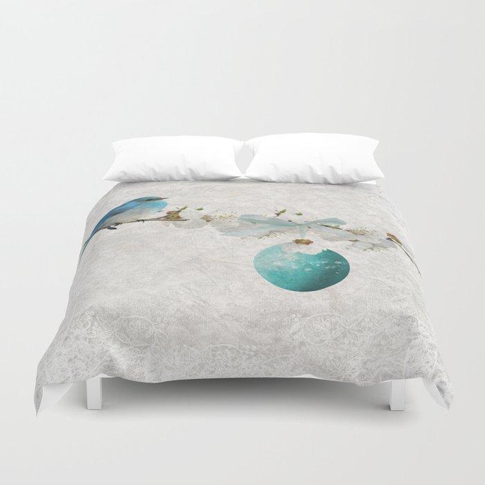 Blue bird & egg Duvet Cover