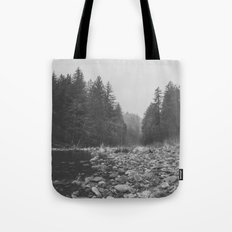 Mountain Forest Lake Water - Black and White Vintage Trees and Sky Tote Bag