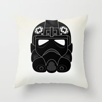pilot Throw Pillows featuring Imperial Pilot by  David Somers