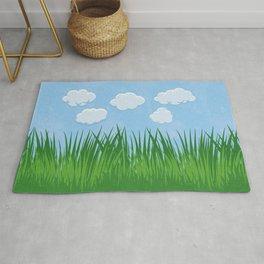 Green Grass Field Blue Sky Landscape Illustration Blue Green Rug