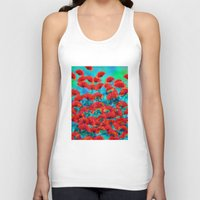 poppies Tank Tops featuring Poppies by Klara Acel