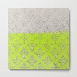 Layers Damask Lime Metal Print