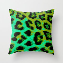 Aqua and Apple Green Leopard Spots Throw Pillow