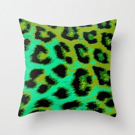 Aqua and Apple Green Leopard Spots Throw Pillow