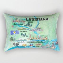 USA Louisiana State Travel Poster Map with Tourist Highlights Rectangular Pillow