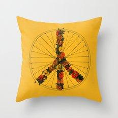 Peace & Bike (Colors) Throw Pillow