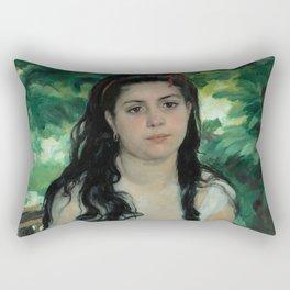 """Auguste Renoir """"En été - La bohémienne (In summer - Gypsy woman)"""" Rectangular Pillow"""