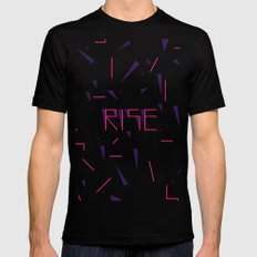 Rise No.2 - White Black Mens Fitted Tee MEDIUM