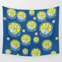 nba Wall Tapestries featuring WARRIORS HAND-DRAWING DESIGN by SUNNY Design