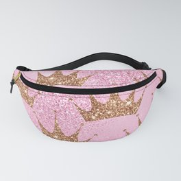Pastel Pink Princess Pattern With Gold Sparkle Crowns Fanny Pack