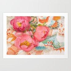 Peonies and Kimono Art Print