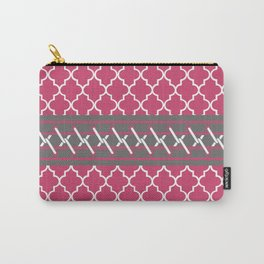 Pink and Gray Quatrefoil Carry-All Pouch