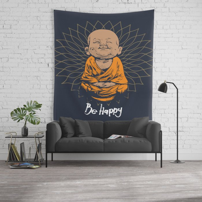 Be happy little buddha wall tapestry by greennatural society6