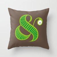 et Throw Pillows featuring Et worm by Robert Karpati