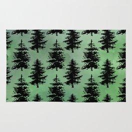 Hand painted watercolor green black winter pine trees Rug