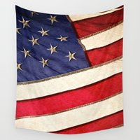 patriotic Wall Tapestries featuring Patriotic American Flag by politics