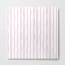 Baby pink white modern paint brushstrokes stripes Metal Print