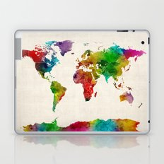 Watercolor Map of the World Map Laptop & iPad Skin