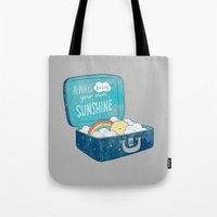 ilovedoodle Tote Bags featuring Always bring your own sunshine by I Love Doodle