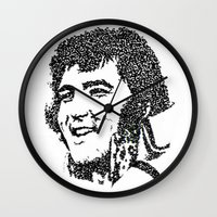 elvis presley Wall Clocks featuring Elvis Presley by The Curly Whirl Girly.