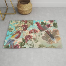 Parrots and Flora Rug