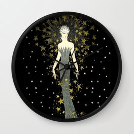 "Art Deco Sepia Illustration ""Star Studded Glamor"" Wall Clock"