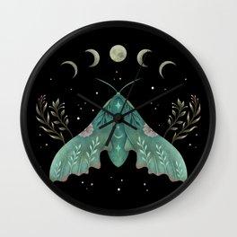 Luna and Moth - Midnight Black Wall Clock