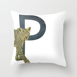 P - Panther Throw Pillow