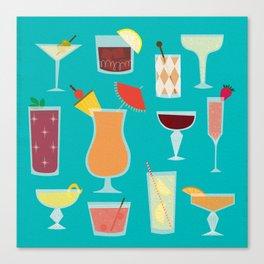 Retro Cocktails Canvas Print