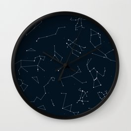 Silver Constellations Wall Clock